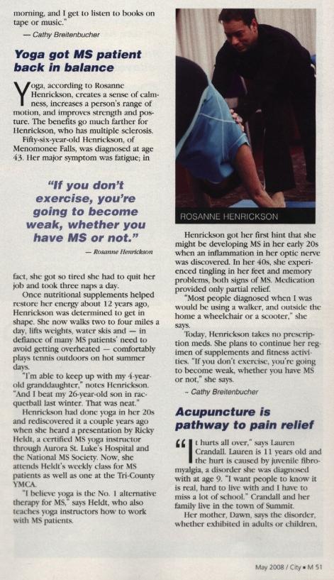M Magazine Yoga Article